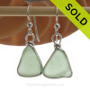 Triangles of  Seafoam Green Beach Found Sea Glass Earrings In Solid Sterling Silver Original Wire Bezel©