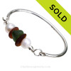 Perfect Green English Sea Glass  & Amber Brown combined on this Solid Sterling Silver Full round Sea Glass Bangle Bracelet with real LARGE Cultured Pearls. SOLD - Sorry this Sea Glass Jewelry selection is NO LONGER AVAILABLE!