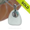 Pale Seafoam Green Sea Glass With Sterling Silver Sandollar Charm