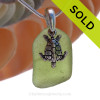 Vivid Peridot Sea Glass Necklace with Beach found green sea glass and solid sterling silver sea turtle charm and Solid Sterling Silver Snake chain. SOLD - Sorry this Sea Glass Necklace is NO LONGER AVAILABLE!