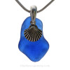 """Lovely Cobalt Blue Beach Found Sea Glass With Sterling Silver Shell Charm - 18"""" Solid Sterling CHAIN INCLUDED"""
