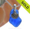 A curvy Rare Cobalt Blue beach found Sea Glass Necklace set on a Solid Sterling cast bail with a sterling silver Starfish Charm. SOLD - Sorry this Sea Glass Necklace is NO LONGER AVAILABLE!
