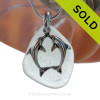 """LARGE Pale Seafoam Green sea glass set on a Solid Sterling large cast bail with a LARGE Solid Sterling Silver Kissing Dolphins Charm -  18"""" Quality Chain INCLUDED! SOLD - Sorry this Sea Glass Necklace is NO LONGER AVAILABLE"""