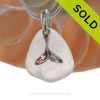 Pure Bright White Sea Glass Necklace with Beach found sea glass and Solid Sterling Silver Whale Tail charm and Solid Sterling Silver Snake chain. SOLD - Sorry this Sea Glass Necklace is NO LONGER AVAILABLE!