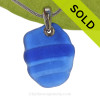 A curvy Ridged Rare Cobalt Blue beach found Sea Glass Necklace set on a Solid Sterling cast bail. SOLD - Sorry this Sea Glass Jewelry Selection is NO LONGER AVAILABLE!