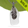 Long Pure Bright White Sea Glass Necklace with Beach found sea glass and LARGE Solid Sterling Silver Flop charm and Solid Sterling Silver Snake chain.