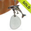 """LARGE Mother and baby Dolphin Sterling Silver Necklace with Pale Green Sea Glass - 18"""" STERLING CHAIN INCLUDED SOLD - Sorry this Sea Glass Necklace is NO LONGER AVAILABLE"""