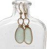 A classic and timeless sea glass earrings setting in gold.