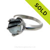 Black and White Cross Sectioned English Sea Glass Ring in 6 Prong Sterling Silver Setting