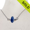 Simple petite Medium Blue Sea Glass on a small Rolo chain with Dolphin clasp. SOLD - Sorry this Sea Glass Necklace is NO LONGER AVAILABLE!