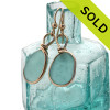 Stunning Bubbly Deep Aqua or Turquoise Genuine Sea Glass Earrings In 14K Goldfilled Original Bezel Wire©