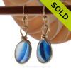 ULTRA RARE Mixed Teal Blue Genuine English Sea Glass In 14K G/F Original Wire Bezel©