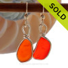 P-E-R-F-E-C-T Orange Red Genuine Sea Glass in our Original Wire Bezel© earring setting lets all the color of these beautiful gold set beach found sea glass pieces shine! SOLD - Sorry these Ultra Rare Sea Glass Earrings are NO LONGER AVAILABLE!