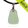 Seafoam Green Natural Sea Glass Necklace Set On Silver Bail With Black Neoprene Cord