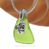 "Vivid Lime Green Sea Glass Necklace with Sterling Silver #1 MOM Charm - 18"" Solid Sterling Chain INCLUDED"