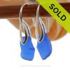 Bright Cobalt  Blue Sea Glass Earrings On Silver Silver Deco Hooks