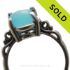 Gorgeous Electric Aqua Sea Glass Ring in a Solid Sterling Silver Scroll setting.