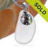 """Pure White Sea Glass Necklace with Sterling Silver Sandollar Charm - 18"""" Solid Sterling Chain INCLUDED"""