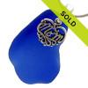 For Mom - HUGE Cobalt Sea Glass & Sterling MOM Heart Charm