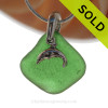 Bright Vivid Green Sea Glass Necklace with Beach found sea glass with a Solid Sterling Silver Dolphin charm and Solid Sterling Silver Snake chain.