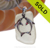 """LARGER Pale Peridot Green sea glass set on a Solid Sterling Cast bail with a Sterling Silver Kissing Dolphins Charm -  18"""" Quality Chain INCLUDED! SOLD - Sorry this Sea Glass Necklace is NO LONGER AVAILABLE!"""