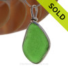 Large VIVID Green Genuine Sea Glass Pendant in our Original Wire Bezel© in Sterling Silver. SOLD - Sorry this Sea Glass Pendant is NO LONGER AVAILABLE!