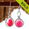 Hot Pink Flash - English Art Sea Glass Earrings In Original Sterling Silver Original Wire Bezel©