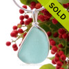 This is a beautiful Bright Vivid Aqua Sea Glass set in our Original Wire Bezel© pendant setting in Sterling Silver. SOLD - Sorry this Rare Sea Glass Pendant is NO LONGER AVAILABLE!