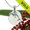"""Mother and Baby Dolphins Sterling Silver Necklace with Whitish Green Sea Glass - 18"""" STERLING CHAIN INCLUDED SOLD - Sorry this Sea Glass Necklace is NO LONGER AVAILABLE!"""