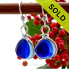 A great match in my English Multi Sea Glass Earrings in a vivid mixed deep cobalt Blue set in our Original Wire Bezel© setting in silver. SOLD - Sorry these Ultra Rare Sea Glass Earrings are NO LONGER AVAILABLE!