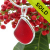 Stunning and Perfect red sea glass is set in our Original Wire Bezel© pendant setting. SOLD - Sorry this Rare Sea Glass Pendant is NO LONGER AVAILABLE!