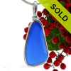 SOLD - Sorry this Rare Sea Glass Pendant is NO LONGER AVAILABLE! An lovely and long piece of Cobalt Blue Genuine Sea Glass with in our signature Original Wire Bezel© pendant setting in Sterling Silver. A very nice pendant perfect for just about any necklace.