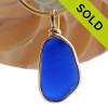 Thicker Genuine Rich Blue Sea Glass In Original Gold Wire Bezel©  Pendant