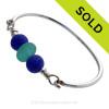 Premium Vivid Aqua Genuine Sea Glass Sterling Bangle Bracelet With Blue Recycled Glass Beads