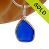 Dimpled Cobalt Blue Sea Glass Pendant In S/S Original Wire Bezel© Pendant