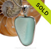 Tropical Sea Lovers - Vivid Aqua White Natural Sea Glass Heart In Deluxe Sterling Bezel© Necklace Pendant