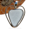 Double Love - LARGE Ice Blue Genuine Sea Glass Heart In Deluxe Sterling Double Bezel© Necklace Pendant