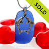 """Beautiful Kissing Dolphins Sterling Silver Necklace with Long and Large Vivid Cobalt Blue Sea Glass - 18"""" STERLING CHAIN INCLUDED."""