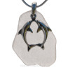 A stunning large piece of beach found sea glass on a sterling necklace.