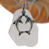 """Kissing  Dolphins Sterling Silver Necklace with LARGE Palest Lavender Sea Glass - 18"""" STERLING CHAIN INCLUDED"""