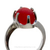A stunning piece of PERFECT VIVID Red Victorian Era vivid sea glass set in a secure solid sterling 6 prong ring.