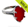 Amazing sea glass from Seaham England in a solid sterling ring.  SOLD - Sorry this Rare Sea Glass Ring is NO LONGER AVAILABLE!