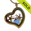 Tropical Love - Aqua and Blue Beach Found Sea Glass Heart Goldtone Locket Necklace W/ Two baby Starfish SOLD - Sorry this Sea Glass Locket is NO LONGER AVAILABLE!