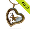 Baby Blue Beach Found Sea Glass Heart Goldtone Locket Necklace W/ a real baby Starfish and Pearls. SOLD - Sorry this Sea Glass Locket is NO LONGER AVAILABLE!