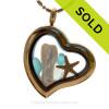 South Seas Love - Tropical Aqua Beach Found Sea Glass Heart Goldtone Locket Necklace W/ Starfish & Stick Pearl