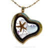 Baby Blue Heart and Pale Lavender Beach Found Sea Glass Heart Goldtone Locket Necklace W/ a Real baby Starfish and Amethyst Crystal Gems