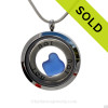 Genuine rare Cobalt Blue heart shaped sea glass combined and a Solid Sterling i ♥ U circle charm, in this stainless steel locket. SOLD - Sorry this Sea Glass Jewelry selection is NO LONGER AVAILABLE!