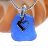 Neat squarish Cobalt Blue Sea Glass Necklace With Sterling Heart Charm