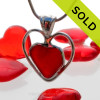 A beautiful and super rare Cherry Red  natural sea glass heart set in our deluxe wire bezel pendant setting!  Genuine sea glass hearts are a RARE phenomena and cherished among sea glass lovers! SOLD - Sorry this Rare Sea Glass Pendant is NO LONGER AVAILABLE!