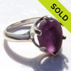 Amazing sea glass from Seaham England in a solid sterling ring in a  true Royal purple.